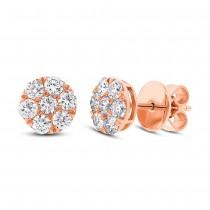 0.86ct 18k Rose Gold Diamond Cluster Stud Earrings