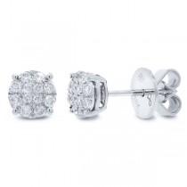 0.31ct 18k White Gold Diamond Cluster Stud Earrings