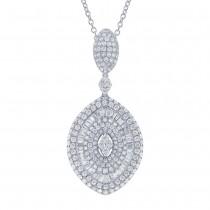 3.76ct 18k White Gold Diamond Pendant Necklace