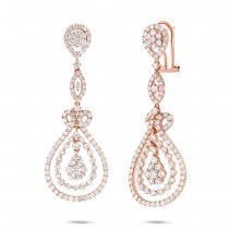 4.27ct 18k Rose Gold Diamond Earrings