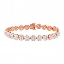8.26ct 18k Rose Gold Diamond Cluster Lady's Bracelet