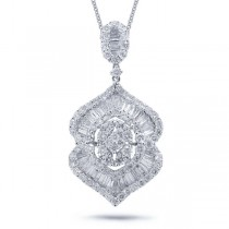2.96ct 18k White Gold Diamond Pendant Necklace