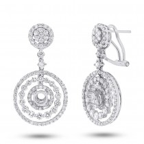 2.36ct 18k White Gold Diamond Semi-mount Earrings