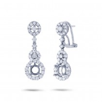 1.60ct 18k White Gold Diamond Semi-mount Earrings