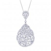 5.24ct 18k White Gold Diamond Pendant Necklace