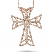 2.34ct 18k Rose Gold Diamond Cross Pendant Necklace