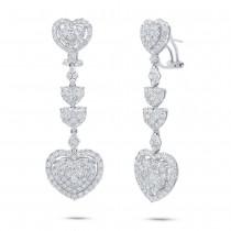 5.08ct 18k White Gold Diamond Heart Earrings