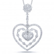 2.41ct 18k White Gold Diamond Heart Pendant Necklace