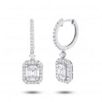0.98ct 18k White Gold Diamond Baguette Earrings