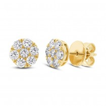 0.86ct 14k Yellow Gold Diamond Cluster Stud Earrings