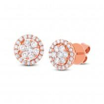0.97ct 18k Rose Gold Diamond Cluster Stud Earrings