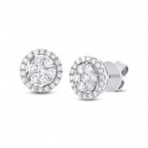 0.97ct 18k White Gold Diamond Cluster Stud Earrings
