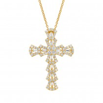 1.28ct 18k Yellow Gold Diamond Cross Pendant Necklace