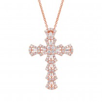 1.28ct 18k Rose Gold Diamond Cross Pendant Necklace