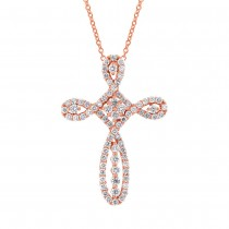 0.99ct 18k Rose Gold Diamond Cross Pendant Necklace