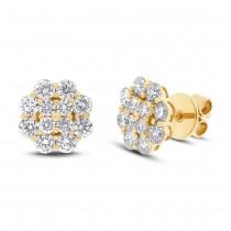 1.97ct 18k Yellow Gold Diamond Cluster Stud Earrings