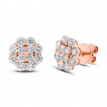 1.97ct 18k Rose Gold Diamond Cluster Stud Earrings
