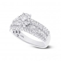 1.23ct 18k White Gold Diamond Cluster Ring