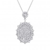 3.55ct 18k White Gold Diamond Pave Pendant Necklace
