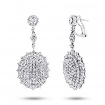5.65ct 18k White Gold Diamond Pave Earrings
