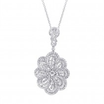 5.30ct 18k White Gold Diamond Pendant Necklace