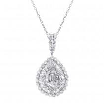 4.19ct 18k White Gold Diamond Pendant Necklace