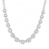 7.73ct 18k White Gold Diamond Baguette Necklace