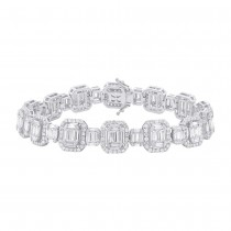 7.24ct 18k White Gold Diamond Baguette Bracelet