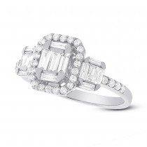 0.85ct 18k White Gold Diamond Baguette Lady's Ring