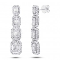 3.19ct 18k White Gold Diamond Baguette Earrings