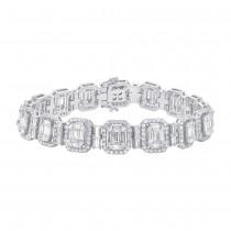 6.99ct 18k White Gold Diamond Baguette Bracelet