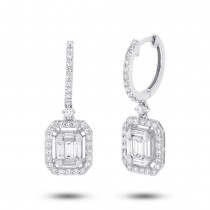 1.28ct 18k White Gold Diamond Baguette Earrings