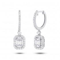 0.92ct 18k White Gold Diamond Baguette Earrings