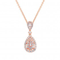 0.78ct 18k Rose Gold Diamond Pendant Necklace