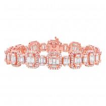 7.24ct 18k Rose Gold Diamond Baguette Bracelet