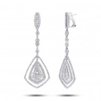 7.66ct 18k White Gold Diamond Earrings