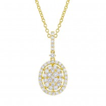 0.98ct 18k Yellow Gold Diamond Pendant Necklace