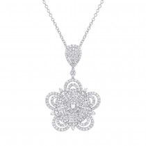5.46ct 18k White Gold Diamond Flower Pendant Necklace