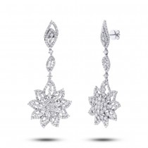 9.07ct 18k White Gold Diamond Flower Earrings