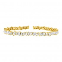 2.78ct 14k Yellow Gold Diamond Baguette Bangle