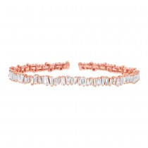 2.78ct 14k Rose Gold Diamond Baguette Bangle