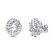 0.86ct 18k White Gold Diamond Semi-mount Earrings