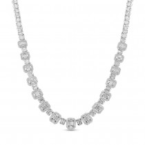 10.82ct 18k White Gold Diamond Baguette Necklace