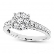 0.84ct 18k White Gold Diamond Cluster Ring