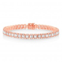 4.00ct 18k Rose Gold Diamond Baguette Bracelet
