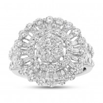 2.47ct 18k White Gold Diamond Flower Lady's Ring