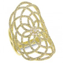1.22ct 14k Yellow Gold Diamond Lace Lady's Ring
