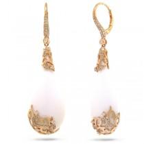 0.67ct Diamond & 46.83ct White Onyx 14k Rose Gold Earrings