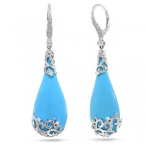 0.67ct Diamond & 37.23ct Composite Turquoise 14k White Gold Earrings