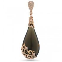 0.63ct Diamond & 40.31ct Smokey Topaz 14k Rose Gold Pendant Necklace